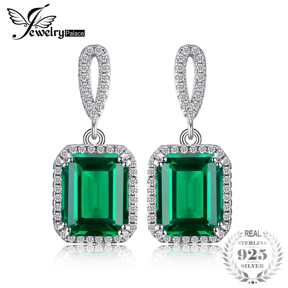 JewelryPalace Luxury 8ct Created Emerald Drop Earrings Dangle Genuine Real Solid Pure 925 Sterling Silver New Fashion For Women цена