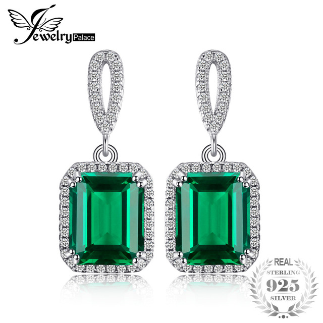 Jewelrypalace Luxury 8ct Created Emerald Drop Earrings Dangle Genuine Real Solid Pure 925 Sterling Silver New
