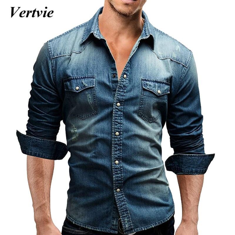 Vertvie Men Shirt Brand Male Long Sleeve Shirts Casual Solid Color Denim Slim Fit Dress Shirts Mens 3xl Clothes