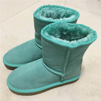 2017 Classic Waterproof Genuine Cowhide Leather Snow Boots 100 Wool Women Boots Warm Winter Shoes For