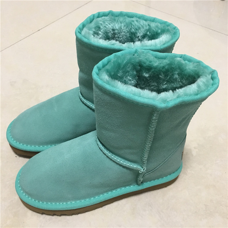 2017 Classic waterproof genuine cowhide leather snow boots 100% Wool Women Boots Warm winter shoes for women large size 34-44 цены онлайн