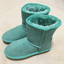 2017 Classic waterproof genuine cowhide leather snow boots 100% Wool Women Boots Warm winter shoes for women large size 34-44(China)