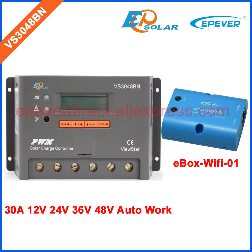 pwm VS3048BN 12V/24V/36V/48V auto work EPEVER Solar panels regulator Wifi eBOX controller 30A 30amps lcd display power bankpwm VS3048BN 12V/24V/36V/48V auto work EPEVER Solar panels regulator Wifi eBOX controller 30A 30amps lcd display power bank