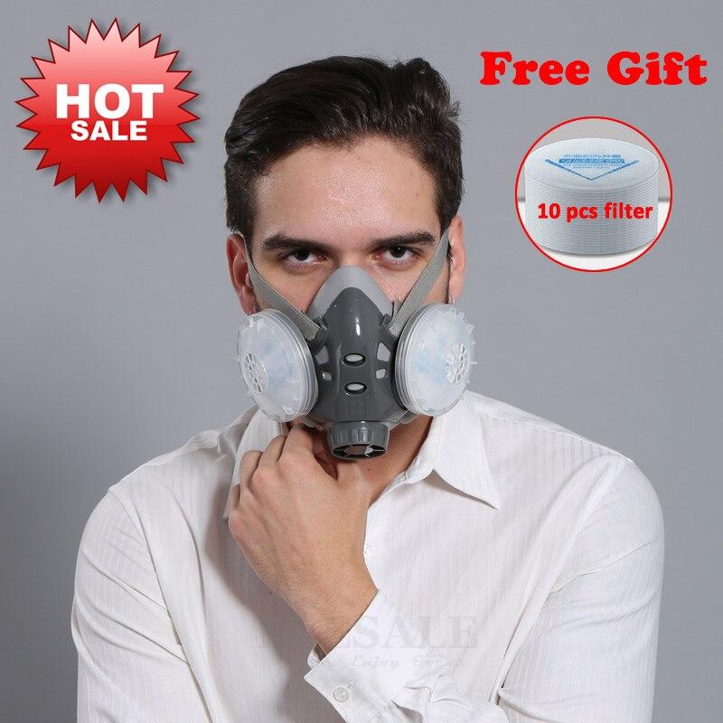 Alta calidad media cara máscara de polvo respirador constructor carpintero diario niebla protección máscara de seguridad 5 capa Fliter