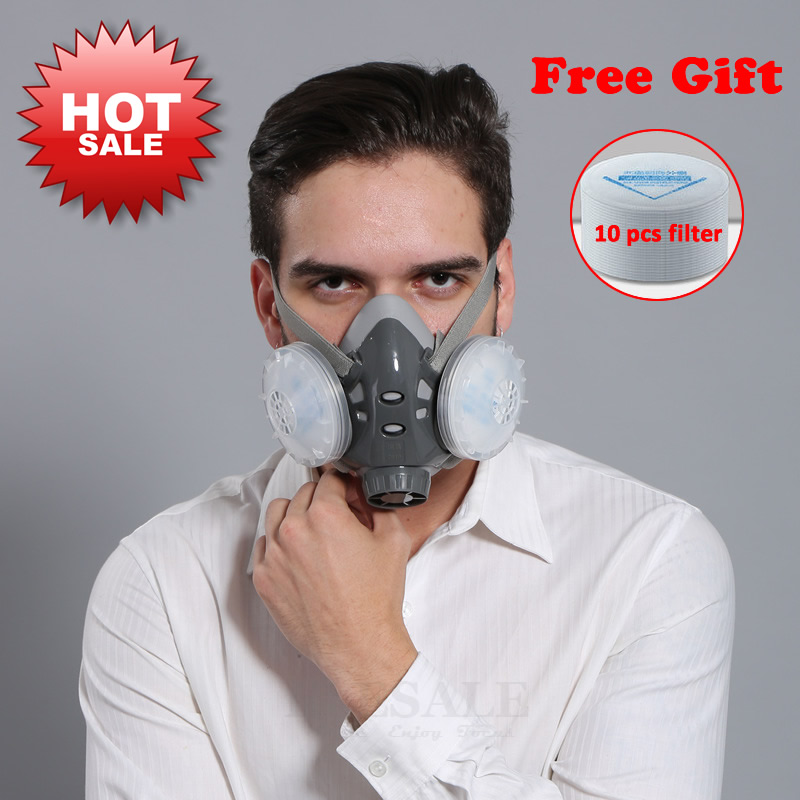 High Quality Half Face Dust Mask Respirator For Builder Carpenter Daily Haze Protection Work Safety Mask 5 Layer Fliter