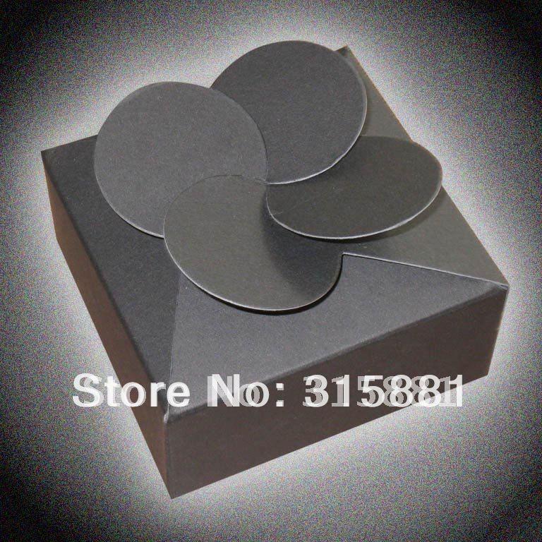 Four Leaf Clover paper boxes jewelry paper boxes Packing boxes 100pcs lot 8cmX8cmX3 5cm BLACK 100pcs