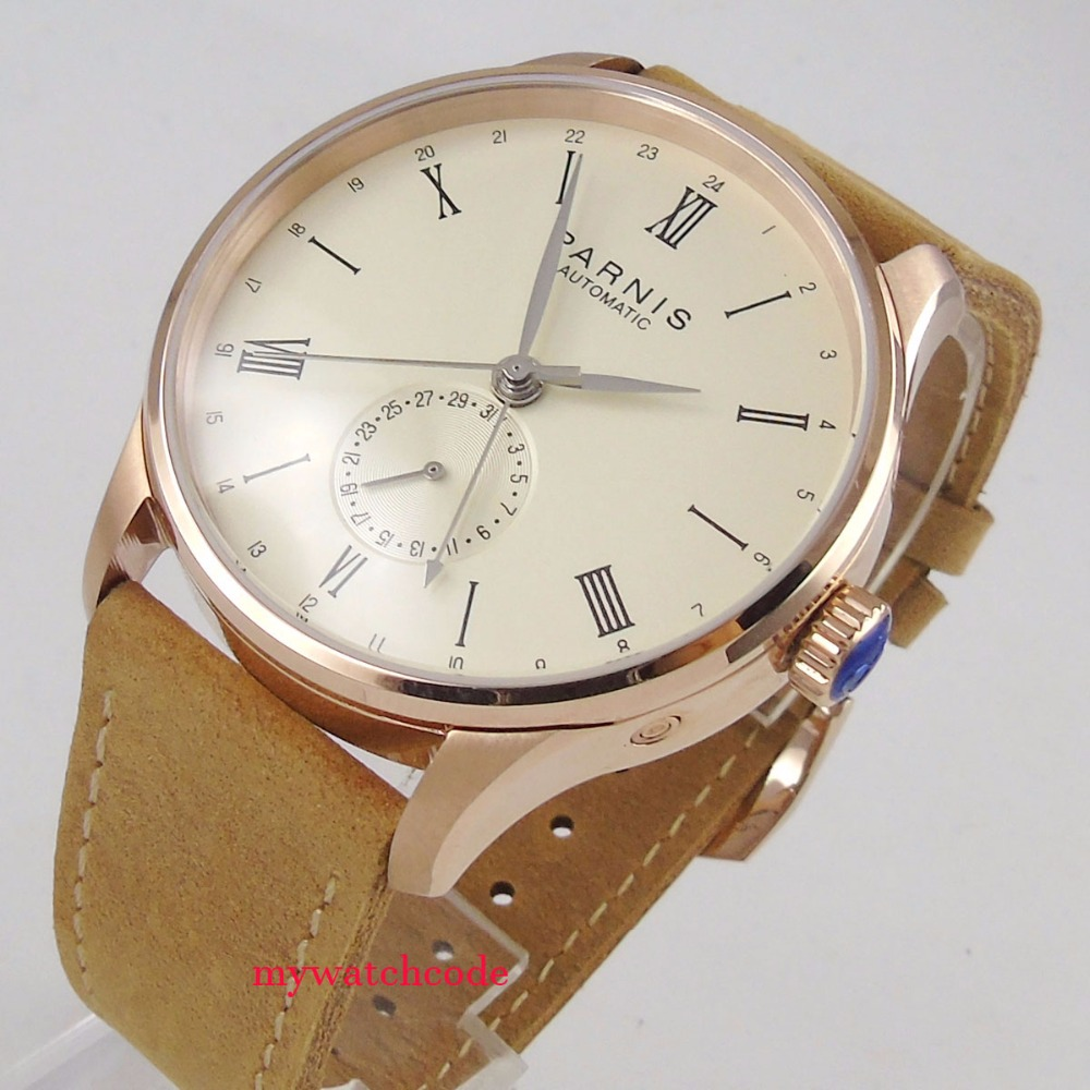 42mm Parnis white dial rose golden case 24 hours date sea-gull mens Watch цена и фото