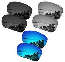 Smartvlt 3 pares polarizado óculos de sol lentes de substituição para oakley turbina stealth preto e prata titânio e gelo azul