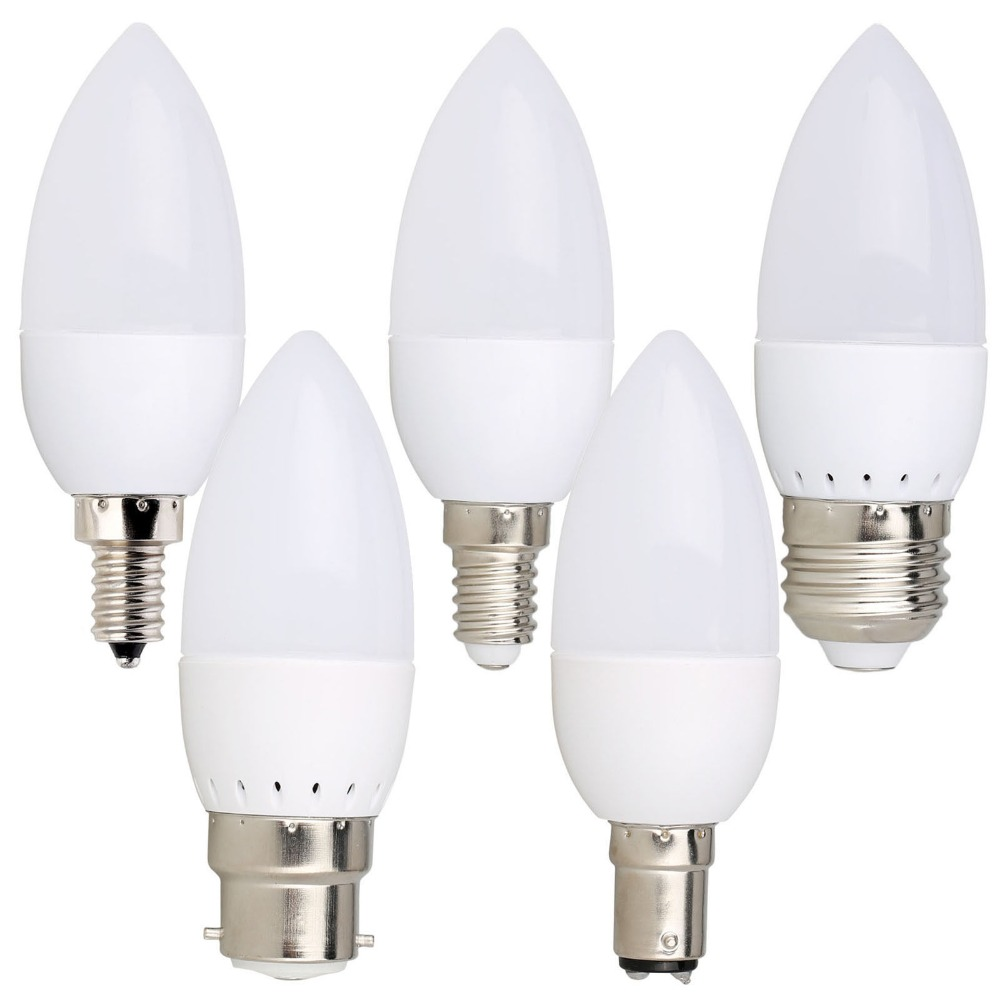 10PCS Led Candle Bulb E14 E27 E12 B22 B15 110V 220V Spotlight Chandlier Crystal Lamp Ampoule Bombillas Light 3W Replace 20W Bulb