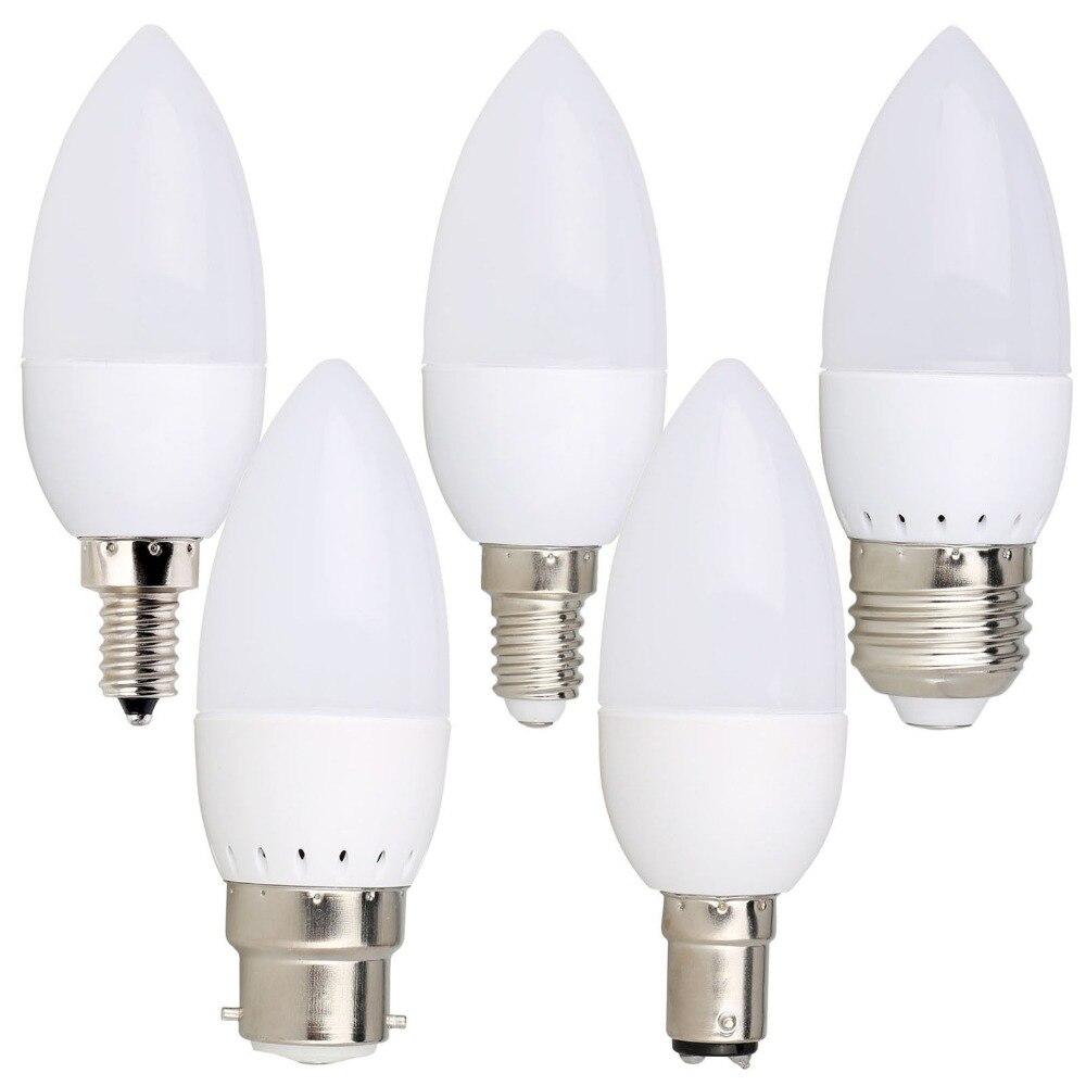 10PCS Led Candle Bulb E14 E27 E12 B22 B15 110V 220V Spotlight Chandlier Crystal Lamp Ampoule Bombillas Light 3W Replace 20W Bulb
