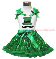 St patrick dag snor hoed wit top meisje groen sequin pettiskirt set 1-8Year MAPSA0443