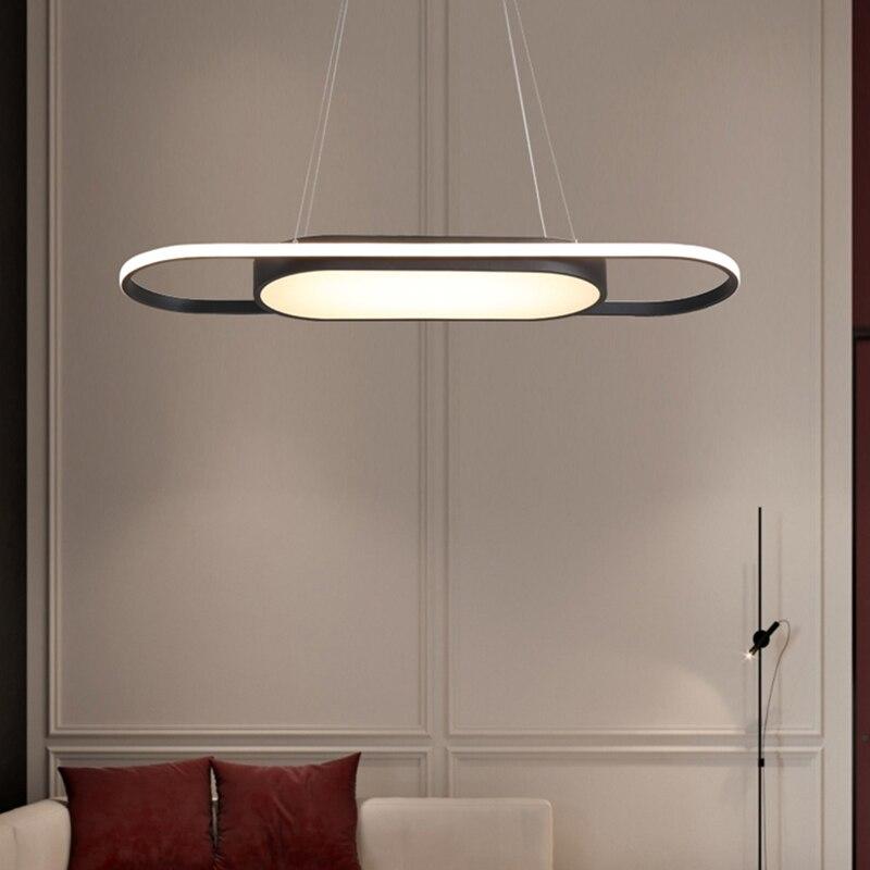 Hanging Dining Room Light Fixtures: Length 90cm Hanging Lights White/Black Modern Led Pendant