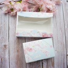 2 Size Light Blue Sky Pink Flower Design 10pcs Paper Box Wedding Favor Birthday Party Gifts Packaging Cookie Candy Gift