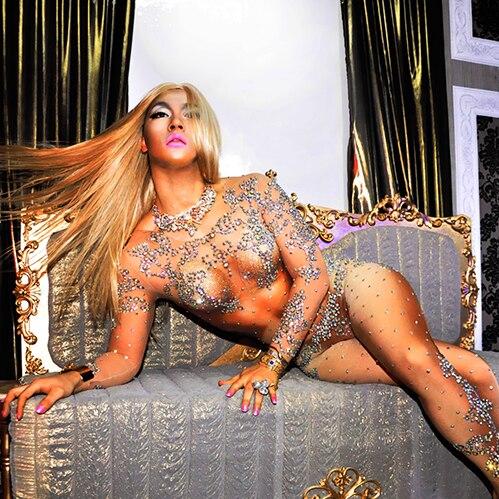 Sexy Glitter Strass Prospettiva Body e Pagliaccetti Paillettes Tuta Vestito Del Corpo di Ballo del vestito Bar Discoteca Cantante Costume Lucido Usura