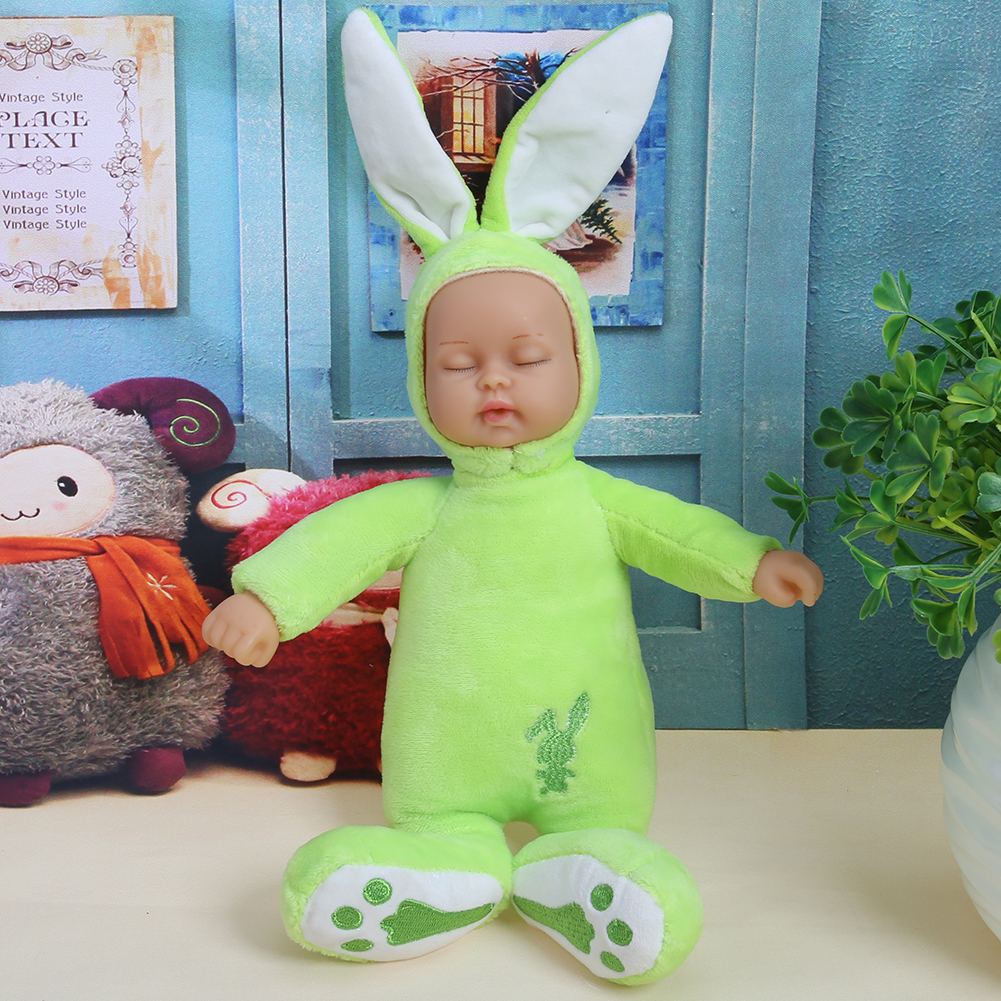 25CM Rabbit Plush Doll Stuffed Baby Simulated Babies Sleeping Dolls Children Toys Birthday Gift For Babies 4 Colors Doll Reborn cartoon cute doll cat plush stuffed cat toys 19cm birthday gift cat high 7 5 inches children toys plush dolls gift for girl