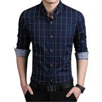 Plaid Men Shirt Slim Fit Plus Size 4XL 5XL Mens Dress Shirts Male Clothes Social Casual