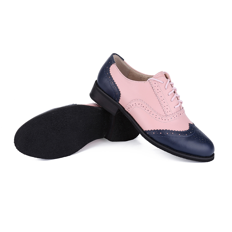 481e742626f41 US $37.74 44% OFF|New Fashion Video real images Blue pink Genuine Leather  oxford shoes for women Handmade Bullock shoes flat shoes Plus Size Woman-in  ...