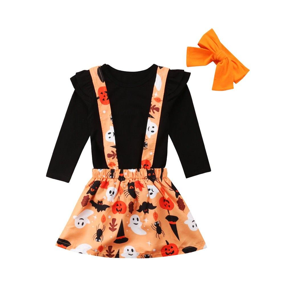 Toddler Girls Halloween Dress Baby Denim Ruffle Long Sleeve Top Pumkin Print Skirt Playwear Clothing Set