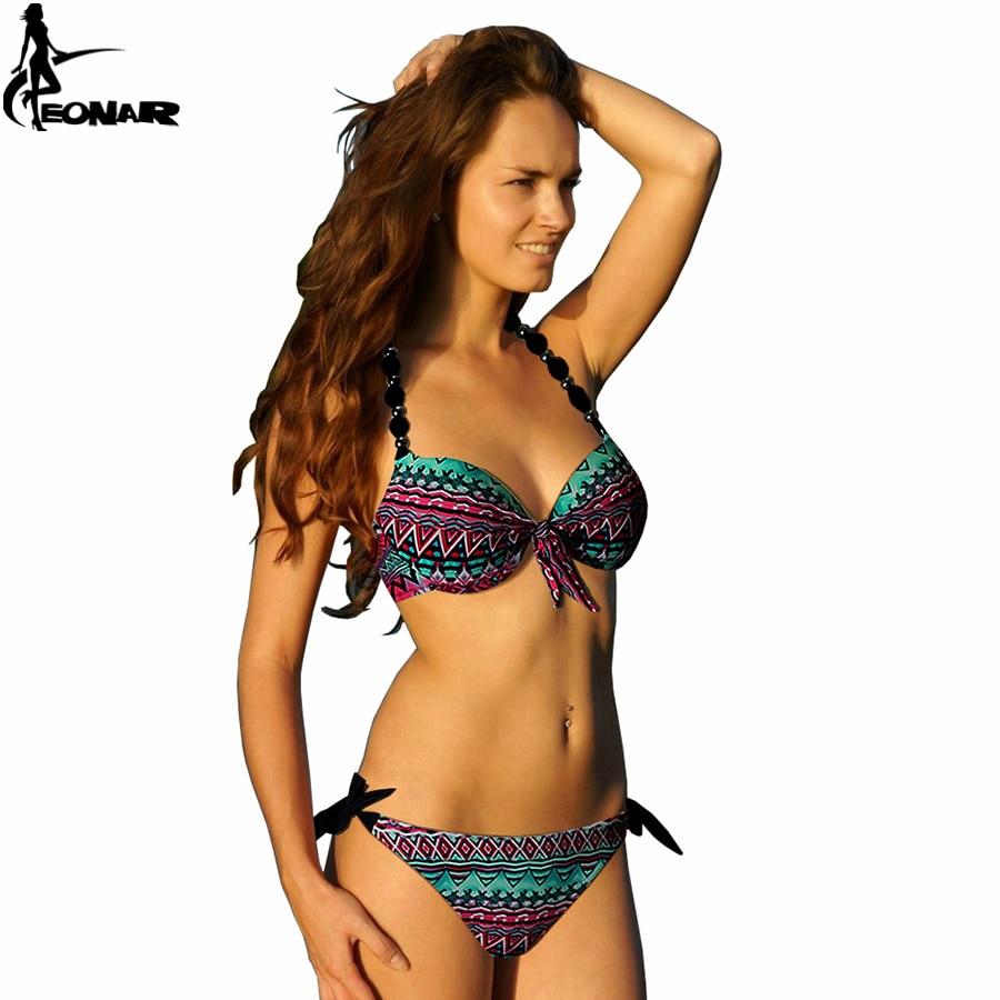 EONAR Bikinis Women 2018 Print Floral Swimsuits Brazilian Push Up Halter Bikini Set Bathing Suits Plus Size Swimwear Female XXL