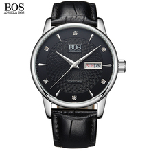 ANGELA BOS Business 2017 Automatic Date Men Watch Mechanical Wrist Watch Sapphire Black Wavy Pattern Cow Leather Luxury Brand