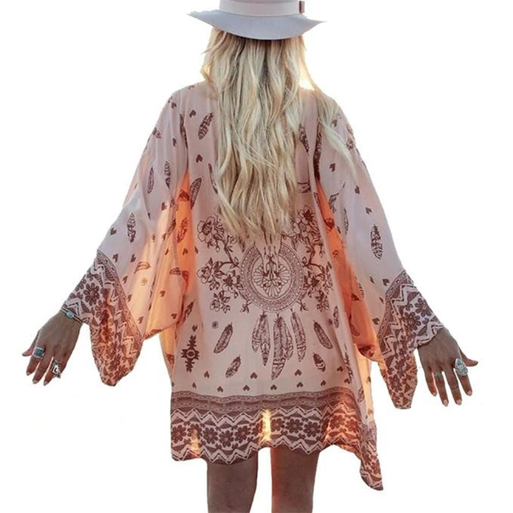 2017 mujer camisa Kimono Boho Cardigan blusa de la impresión geométrica del Vintage chal cabo Je Bohemian Coat chaqueta dos colores