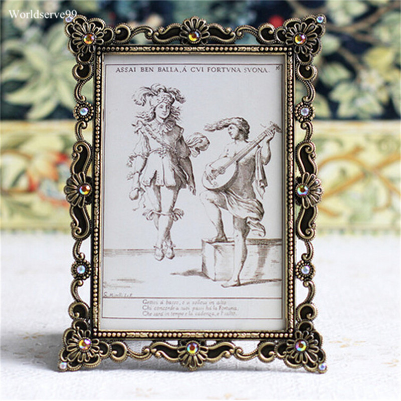 2016 vintage rhinestone wedding photo frames metal alloy picture frame bridal favor gifts home decor