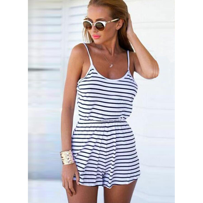 Women Summer Playsuit Sexy Casual Backless Striped Short Jumpsuit For Ladies 2020 Spaghetti Strap Playsuit For Women