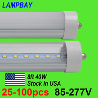 25 100pcs 8FT. 2.4m LED Tube Bulb 40W FA8 single pin Retrofit Lamp 8 feet F96 T8 T10 T12 Flurescent Lights 85 277V 110V