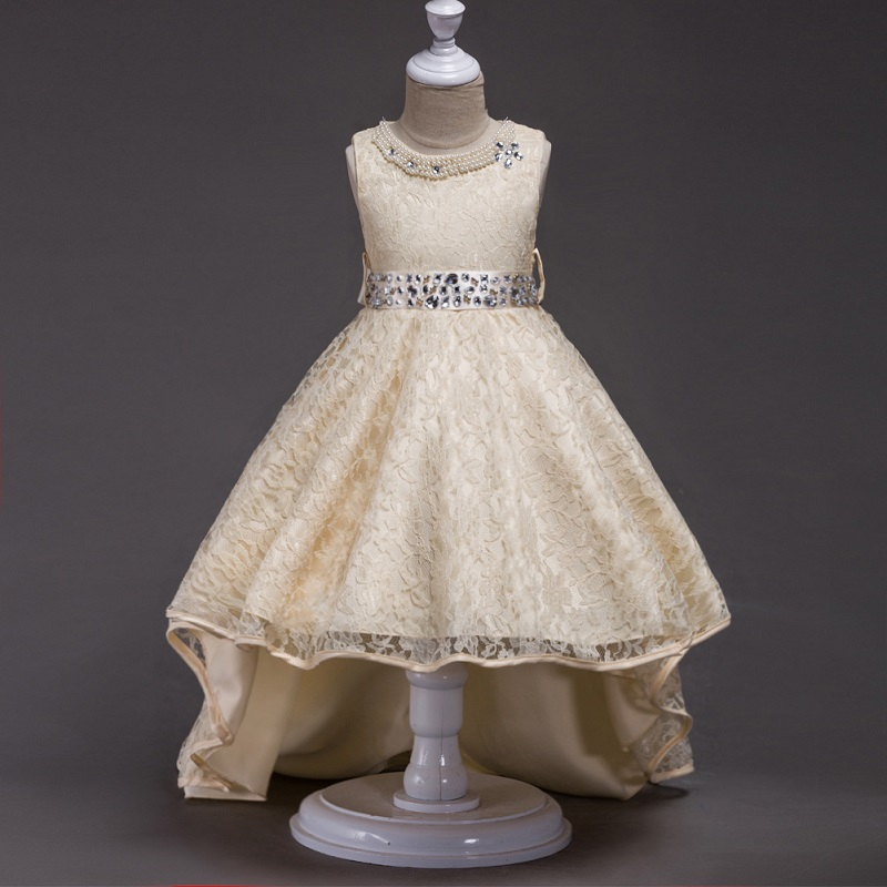 6 colors Girls Prom Lace Dresses Wedding Children Clothing Girl Party Princess High Low Dress Kids Mermaid Dress Tails Clothes new flower girls dress summer kids girl clothing wedding party prom floral dresses sleeveless clothes children princess dress