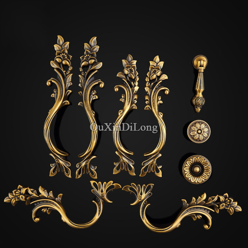 Top Quality 10PCS Furniture Handles European Antique Pure Brass Drawer Wardrobe Cupboard Kitchen Cabinet Door Pull Handles Knobs brass 24k gold czech crystal cabinet knobs and handles drawer furnitures cupboard wardrobe vintage knobs door pull handles