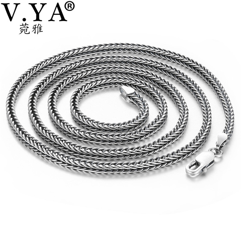 V.YA 2.8mm Solid 925 Silver Male Chain S925 Sterling Silver Snake Chains Necklaces for Men Women Jewelry AccessoriesV.YA 2.8mm Solid 925 Silver Male Chain S925 Sterling Silver Snake Chains Necklaces for Men Women Jewelry Accessories