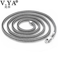 V.YA 2.8mm Solid 925 Silver Male Chain S925 Sterling Silver Snake Chains Necklaces for Men Women Jewelry Accessories