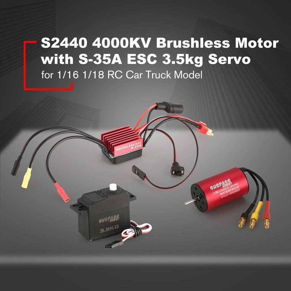 Le moteur sans brosse chaud de SURPASSHOBBY S2440 4000KV S-35A ESC avec le Combo sans brosse Servo de 3.5 kg a placé pour le modèle de camion de voiture de 1/16 1/18 RC