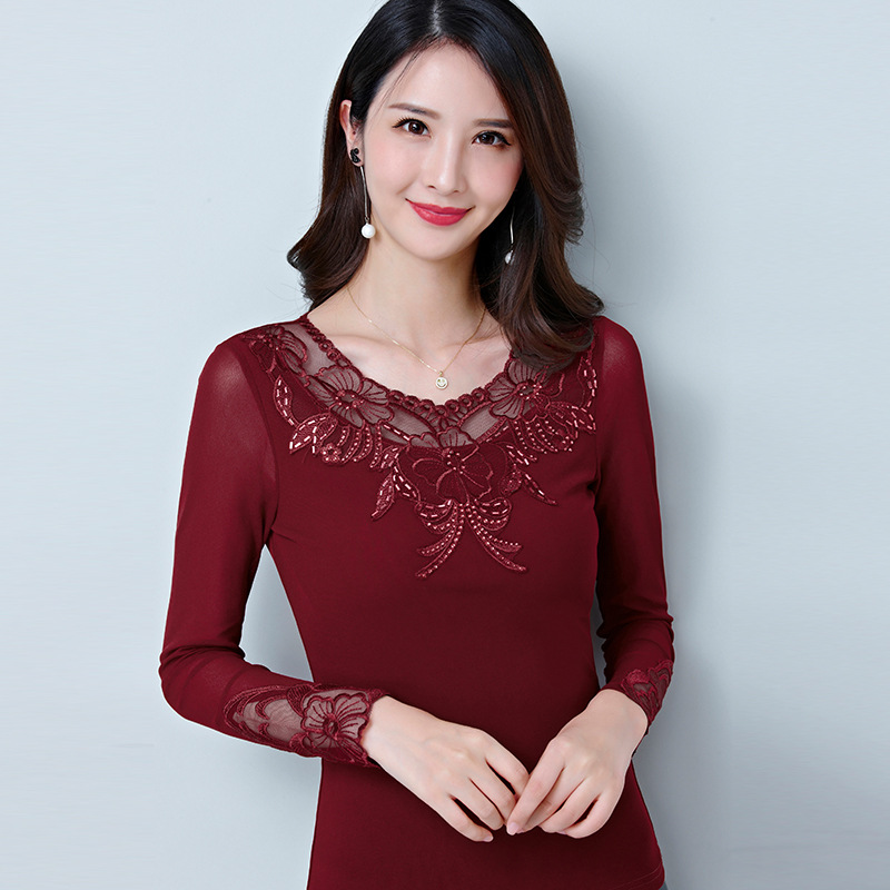 4ca44564741de Hot Women Mesh Gauze Long Sleeve Lace Underwear Tops For Autumn Hollows  Fashion Round Neck Plus Size Thermals T shirt Burgundy -in T-Shirts from  Women s ...