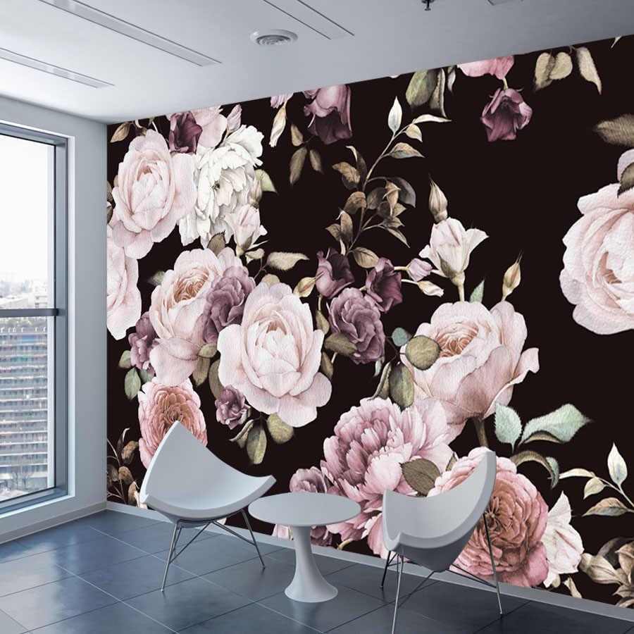 Custom 3d Photo Wallpaper Mural Hand Painted Black White Rose