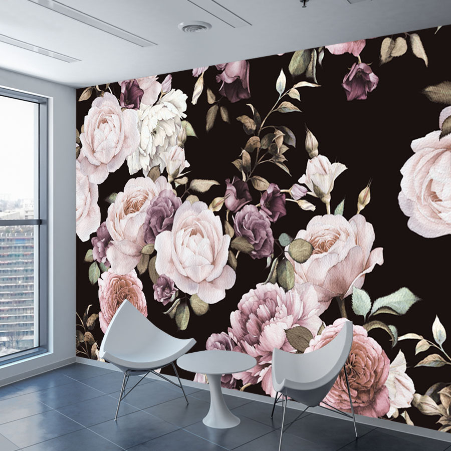Flowers Wall Wallpapers Design For Your Bedrooms Decorating: Custom 3D Photo Wallpaper Mural Hand Painted Black White