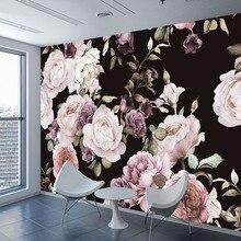Mural de papel pintado con foto 3D personalizado pintado a mano negro blanco rosa peonia flor Mural de pared sala de estar decoración del hogar pintura papel de pared