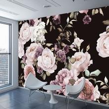 Custom 3D Photo Wallpaper Mural Hand Painted Black White Rose Peony Flower