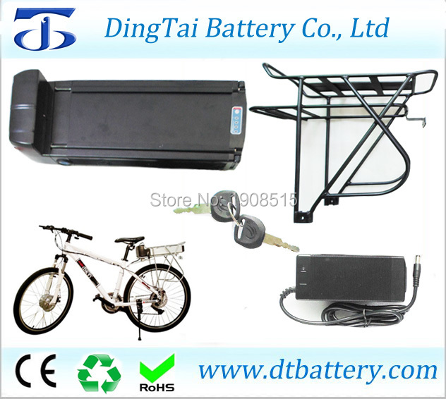 Rear rack electric bike battery 36V 10Ah Lithium ion INR18650 2000mAh- ebike battery pack with capacity display, back light 2016 promotion new standard battery cube 3 7v lithium battery electric plate common flat capacity 5067100