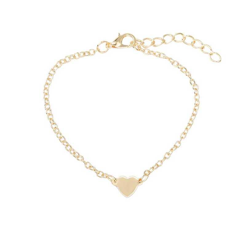 2018 אופנתי נשים מכירה טובה סגנון אהבת זהב צבע צמיד כפול לב תכשיטי מתנה