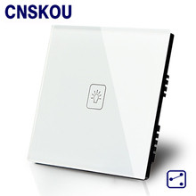 New Smart Home SANKOU 1Gang2Way Wall Touch Switch Luxury Golden Crystal Toughened Glass Panel with LED Indicator UK Standard