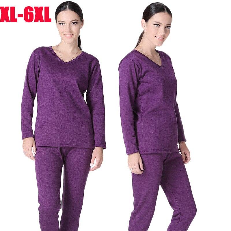 Plus Size XL 6XL Winter Thermal Underwear suits Women long johns V collar shirt pants 2