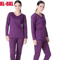 Plus Size XL 6XL Winter Thermal Underwear suits Women long johns V collar shirt pants 2 pieces set Velvet Thick warm Pajamas