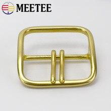Meetee Solid Brass Metal Belt Buckle Men Women Double Pin Belt Buckles Head For Belt 60mm DIY Leather Craft Jeans Accessories стоимость