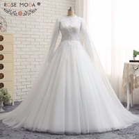 Rose Moda Real Photo Ball Gown Long Sleeve Full Lined Muslim Wedding Dress Beading Lace Bridal