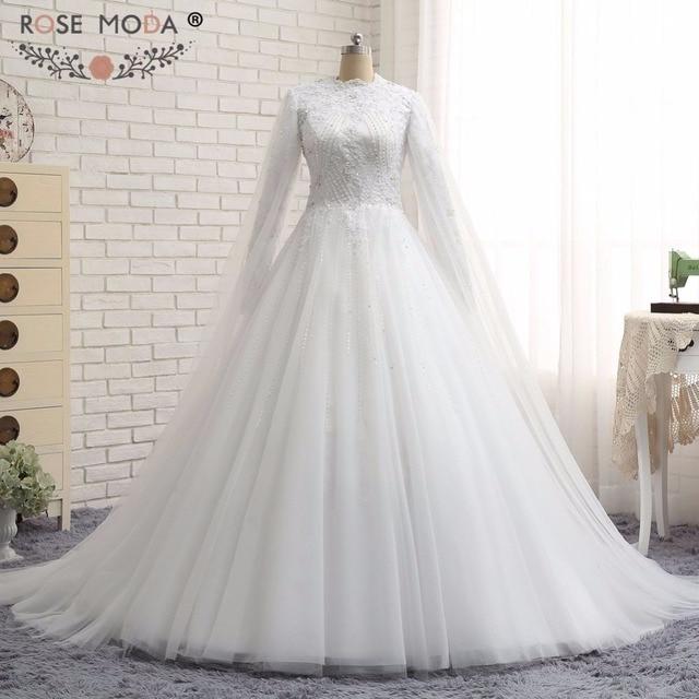 Rose Moda High Neck Long Sleeves Muslimischen Brautkleid Kristall ...