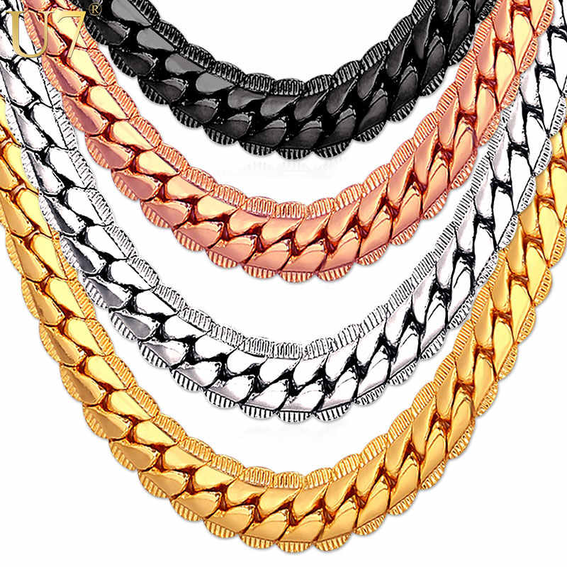 U7 naszyjnik Choker/długi 9 MM/6 MM Vintage Punk czarny/srebrny/złoty kolor Miami łańcuch łańcuch w stylu hip-hop prezent dla kobiet/mężczyzn biżuteria N08