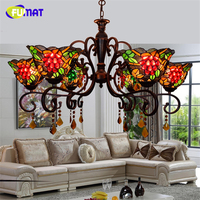 FUMAT European Tiffany Creative Vintage Deco American Artistic Grape Chandeliers LED Art Lights For Living Room