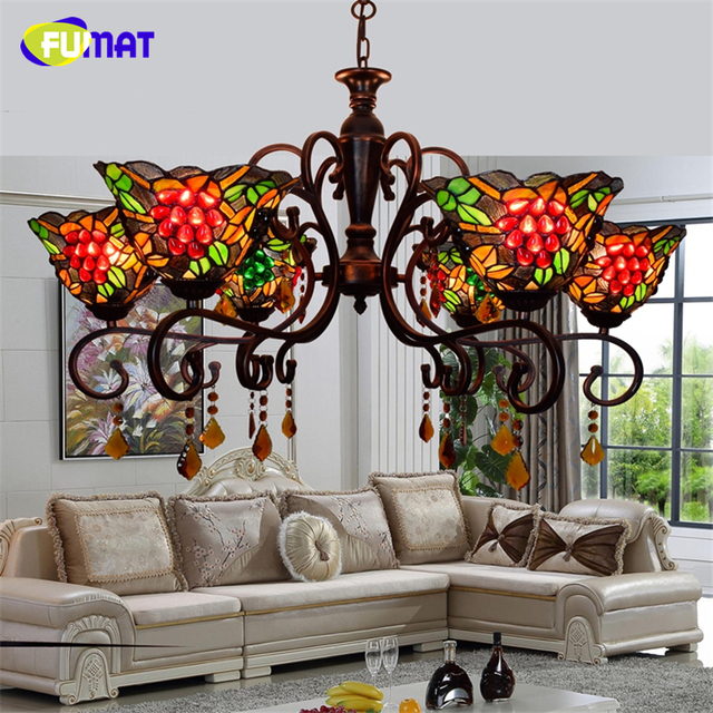 FUMAT European Tiffany Creative Vintage Deco American Artistic Grape Chandeliers LED Art Lights For Living Room Chandelier