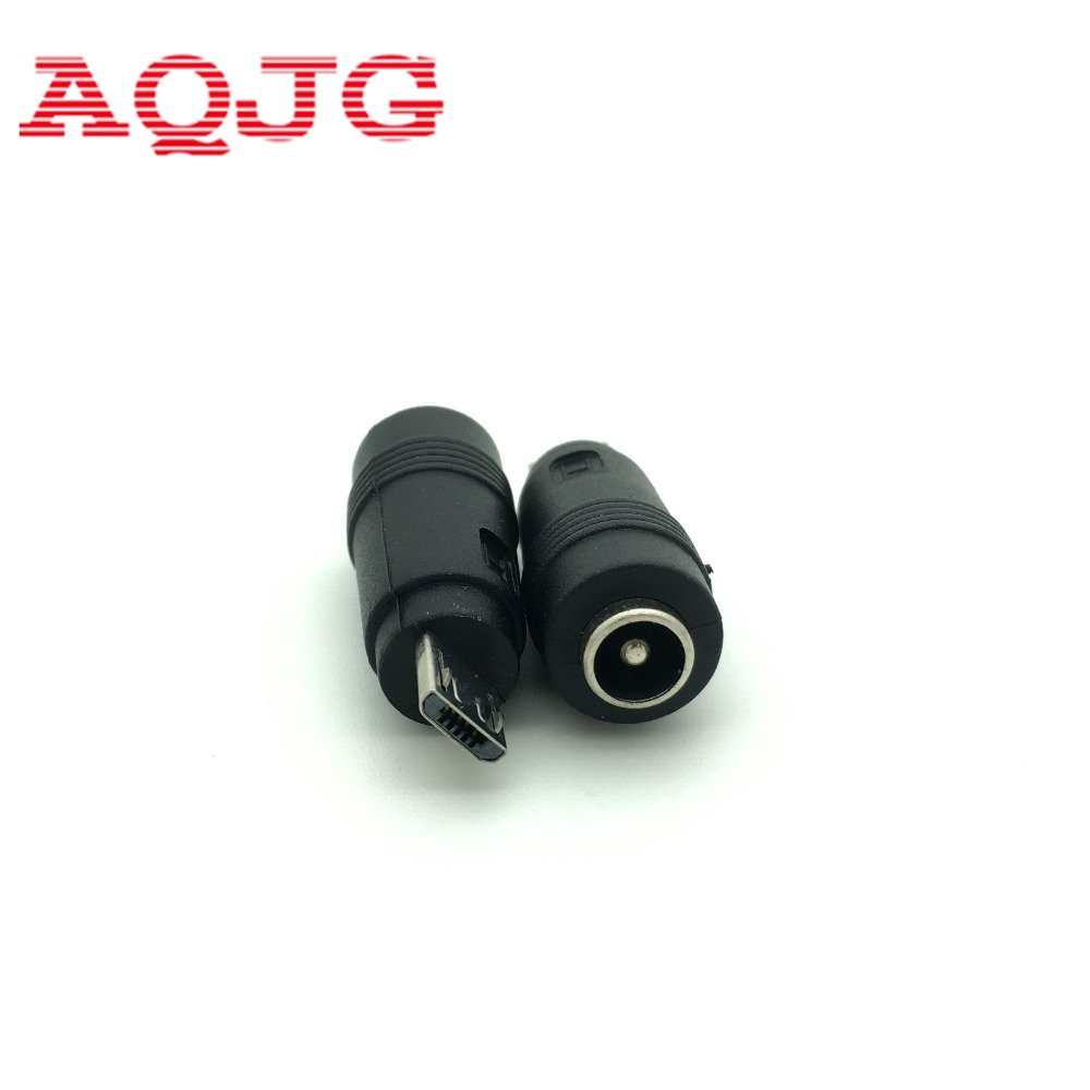 1pcs 5.5 X 2.1 Mm Female To Mini / Micro USB Male 5 Pin DC Power Plug 90 / 180 Degrees Connector Adapter For V8 Android